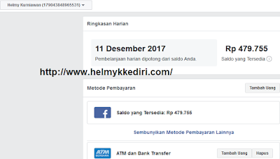 mengisi facebookAds melalui ATM