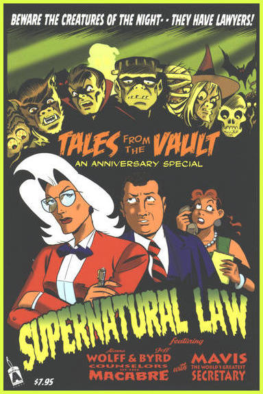 Wolff, Byrd, and their secretary Mavis posing as if in vintage movie poster with logo beneath and heads of various creatures above