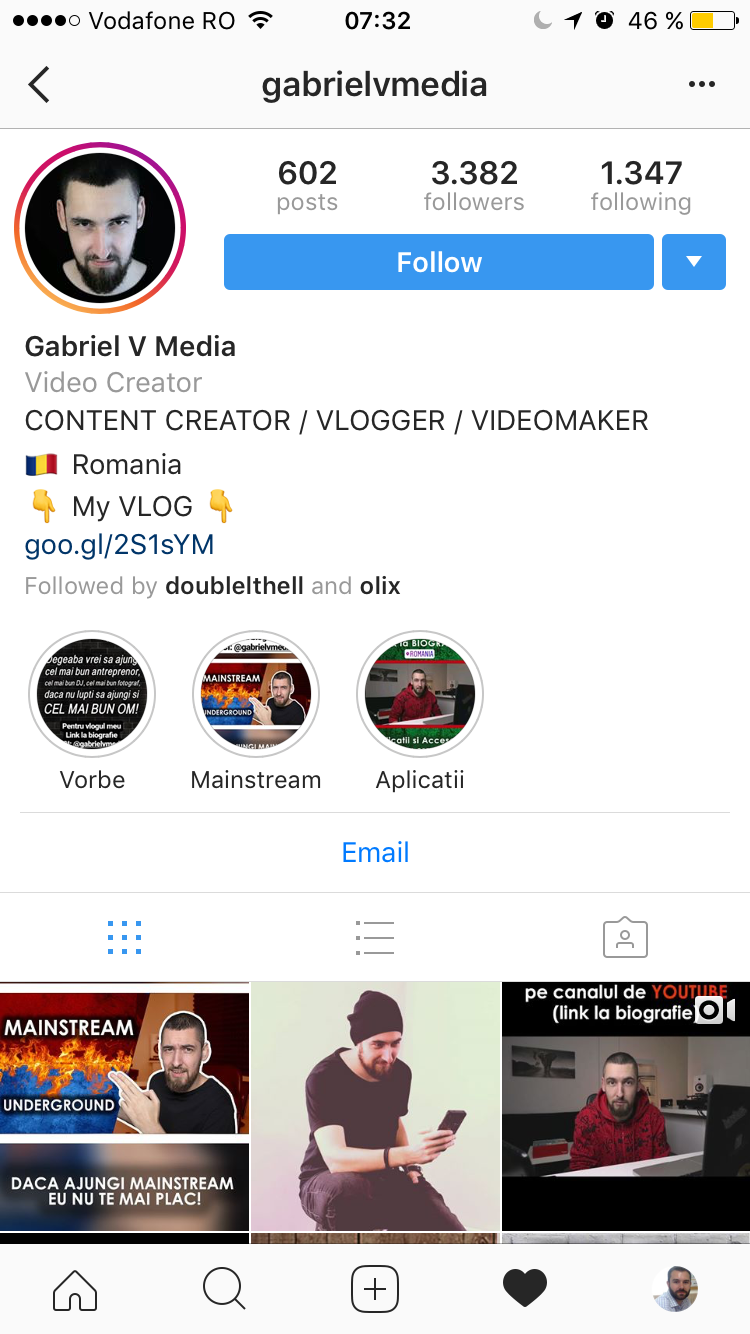 mobile Instagram profile displaying Stories Highlights