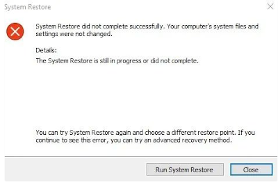 Apa yang harus dilakukan jika terjadi kesalahan dengan System Restore?