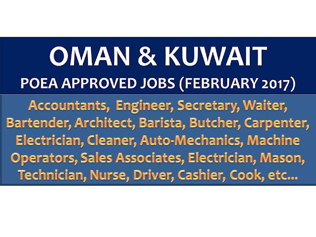 The following are jobs approved by POEA for deployment to Oman and Kuwait. Job applicants may contact the recruitment agency assigned to inquire for further information or to apply online for the job.  We are not affiliated to any of these recruitment agencies.   As per POEA, there should be no placement fee for domestic workers and seafarers. For jobs that are not exempted on placement fee, the placement fee should not exceed the one month equivalent of salary offered for the job. We encourage job applicant to report to POEA any violation on this rule.