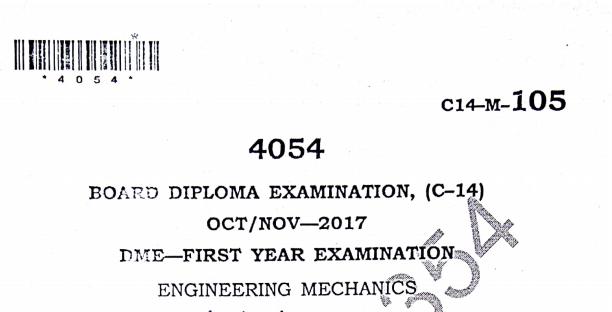 Sbtet polytechnic engineering mechanics old question papers oct/nov 2017 c14