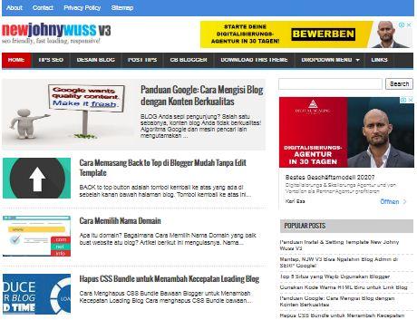 Template New Johny Wuss V3.1 Update Mei 2020 Lebih SEO dan Bersih