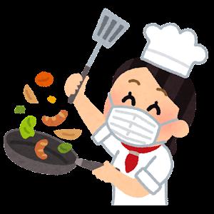 マスクを付けて料理をするシェフのイラスト(アジア人女性)