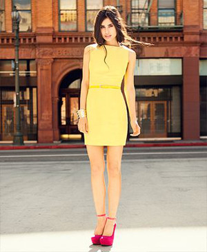 yellow dress with red shoes