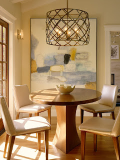 Dining Room Lighting, Lighting System, Proper Lighting, Mediterranean Dining Room, Long Wooden Table, White Oak Flooring, Spacious Wall Arts, Romantic Look, Simple Chest Cabinet, Patterned Carpet