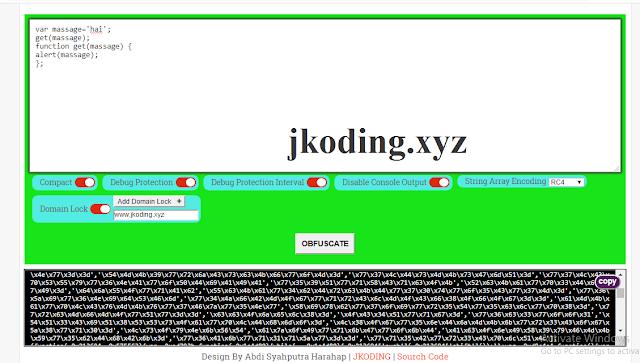 Tampilan Panel Javacsript Obfuscator