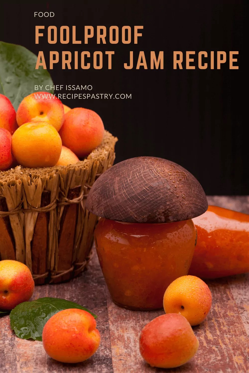 A jam box and a basket containing the apricots