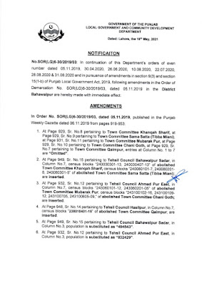 DEMARCATION OF TEHSIL COUNCILS AND ABOLISHED TOWN COMMITTEES OF DISTRICT BAHAWALPUR