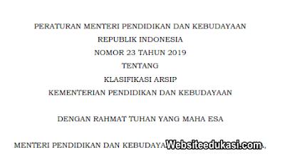 Permendikbud 23 Tahun 2019 Tentang Klasifikasi Arsip Kemdikbud