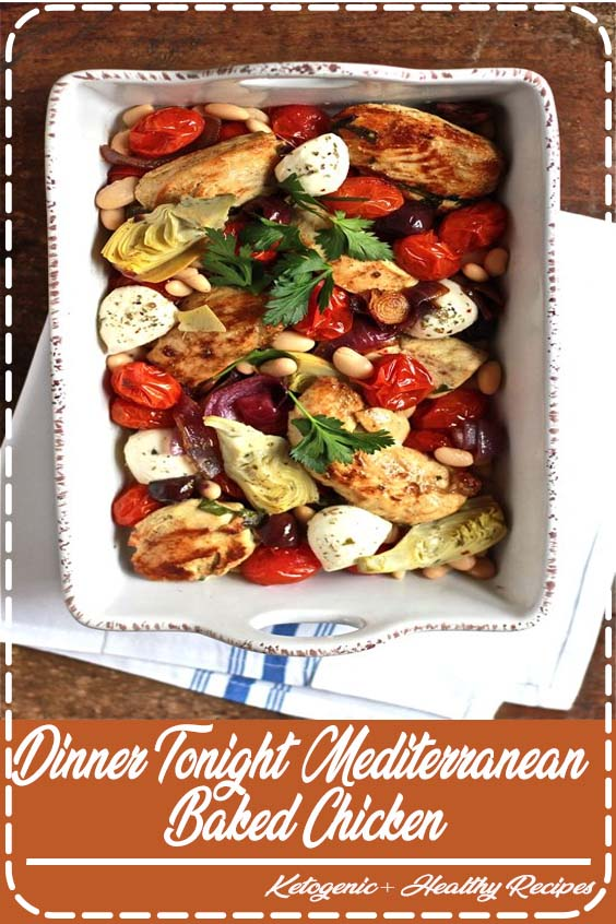A simple baked chicken dish packed with Mediterranean flavors Dinner tonight mediterranean baked chicke