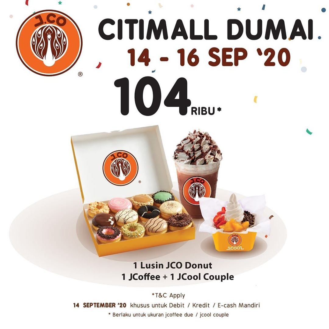 JCO Promo 1 Lusin Donut+1 J.Coffee + 1 J.Coiol Couple Rp 104.000 Opening Citimall Dumai