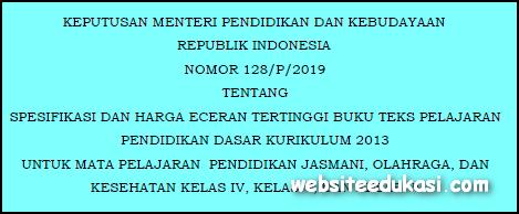 Harga Eceran Tertinggi Buku Kurikulum 2013 Tahun 2019