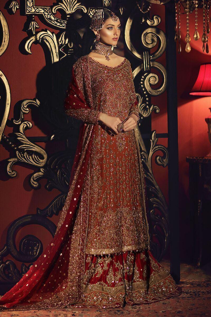 Rust long organza shirt with red organza gharara