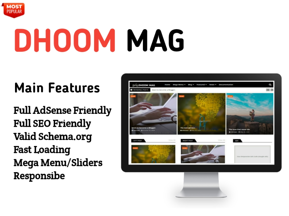 Dhoom Mag Blogger Template - Responsive Blogger Template