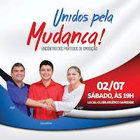 União dos partidos de oposição em Sapé, será celebrado no próximo sábado
