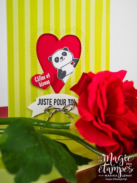 Carte Stampin'Up de la St-Valentin concûe avec le jeu Pandas Festifs