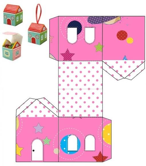 Astronaut Girls: Free Printable House Shapped Box.