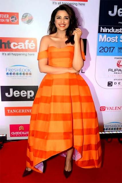 Actress Parineeti Chopra Hot Photo Stills in Orange Dress Actress Trend