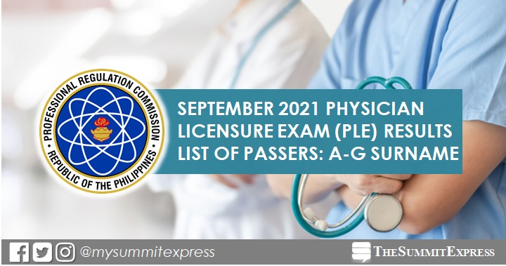 LIST OF PASSERS: A-G September 2021 Physician board exam PLE result