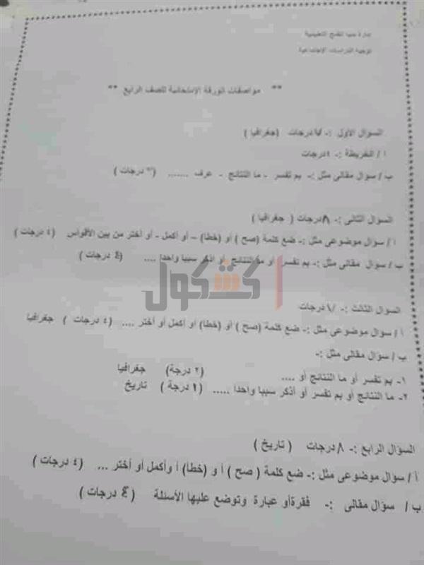 مواصفات الورقة الامتحانية لمادة الدراسات الاجتماعية للمرحلتين الابتدائية والإعدادية 2021 50