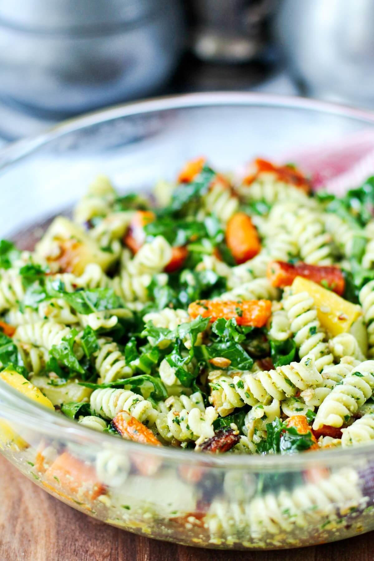 Roasted Carrots with pasta and kale