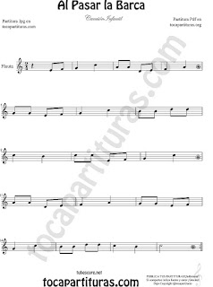 Tablatura y Partitura de Guitarra Al Pasar la Barca Canción infantil Tabs Sheet Music for Guitar Music Scores