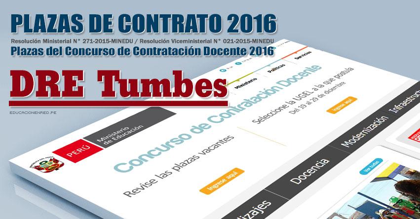 DRE Tumbes: Plazas Vacantes Contrato Docente 2016 (.PDF) www.dret.edu.pe