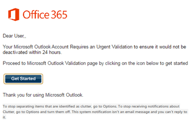 Office365 phishing email example