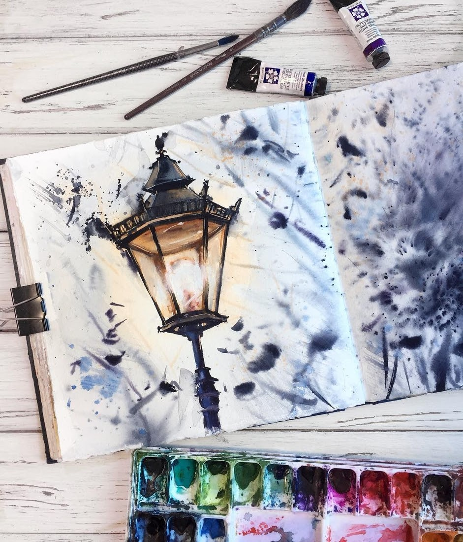 05-Street-Lamp-Alena-Ponkratova-Street-Lamps-Oil-Lamps-and-Candle-Light-Lamps-Watercolors