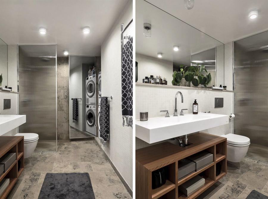 Kawalerka w czerni, wystrój wnętrz, wnętrza, urządzanie domu, dekoracje wnętrz, aranżacja wnętrz, inspiracje wnętrz,interior design , dom i wnętrze, aranżacja mieszkania, modne wnętrza, home decor, black and white, small interior, small apartment, małe mieszkanie, styl industrialny, industrial style, loft, styl loftowy, męskie wnętrze, plan otwarty, open space, salon, living room, pokój dzienny, kuchnia, kitchen, aneks kuchenny, szara kanapa, czarny stół, czarne krzesło, czarny dywan, łazienka