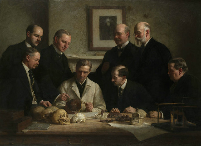 These are just some of the people who fooled the DUMB scientist. Portrait painted by John Cooke in 1915. Back row: (left to right) F. O. Barlow, G. Elliot Smith, Charles Dawson, Arthur Smith Woodward. Front  28  row: A. S. Underwood, Arthur Keith, W. P. Pycraft, and Sir Ray Lankester. Note the painting of Charles Darwin on the wall. Author John Cooke 7.