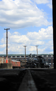 View from the machine shop looking out at Steamtown NHS