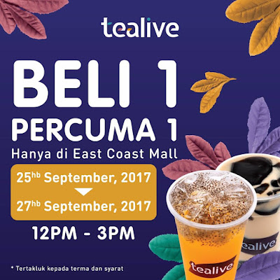 Tealive Buy 1 Free 1 New Opening Promo