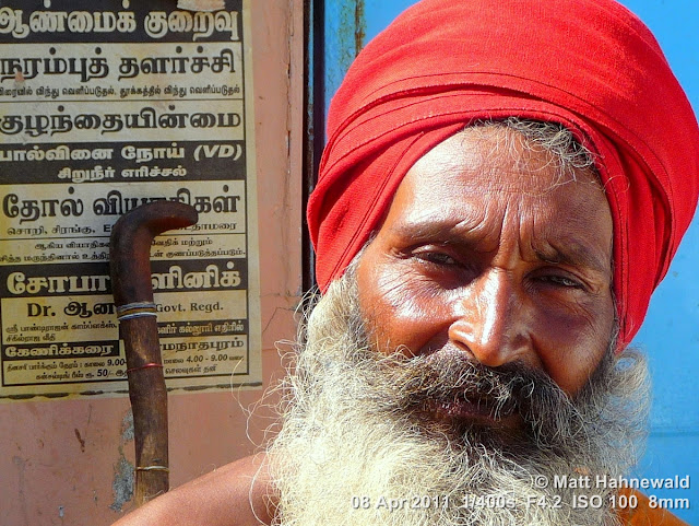 © Matt Hahnewald, Facing the World, close up, street portrait, Dravidian people, South India, Rameshwaram, headshot, Hindu man, sadhu, red turban, white beard