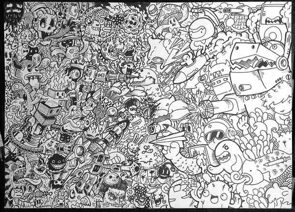 12 Contoh Gambar Doodle Art Monster Keren Grafis Media