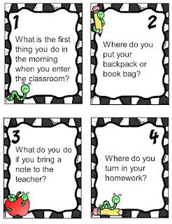 Task cards to review the first week of school procedures and routines in the elementary classroom