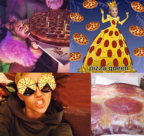 diversas fotos de miley cyrus con temas de pizza
