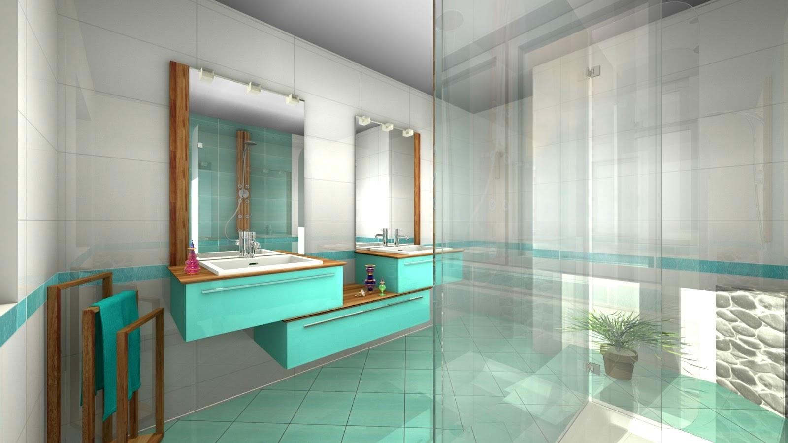 Travail personnel:</br> salle de bain turquoise   La ...