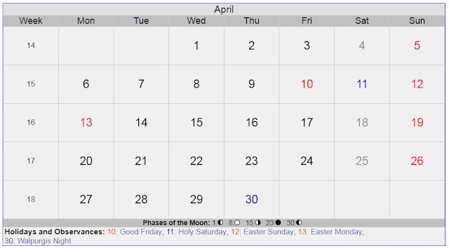 Calendar for April 2020 Sweden