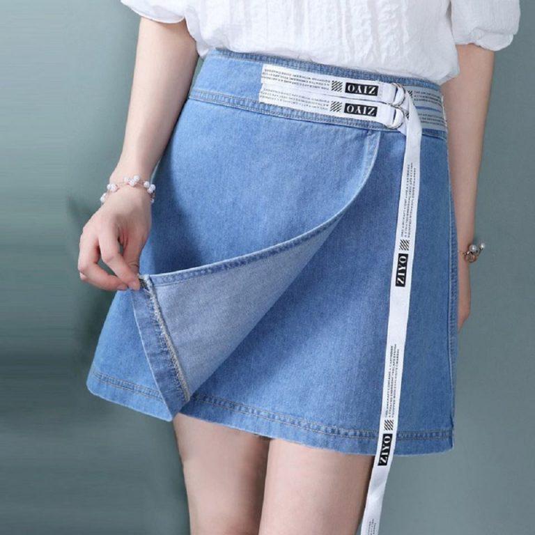 Chân váy vải jean thun