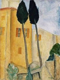 Cypress Trees And Houses: Amedeo Modigliani
