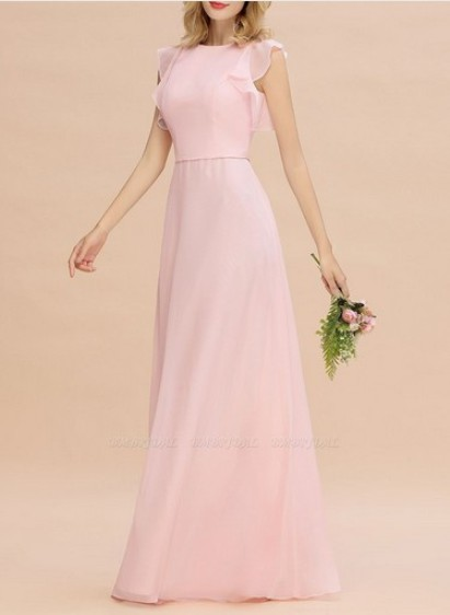 Simple Jewel Sleeveless Bridesmaid Dress–Price: US$ 99.00