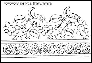 flower border drawing easy/flower border design drawing on paper for hand embroidery designs.