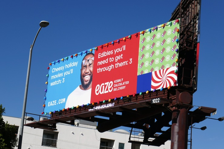 Eaze Christmas lights billboard