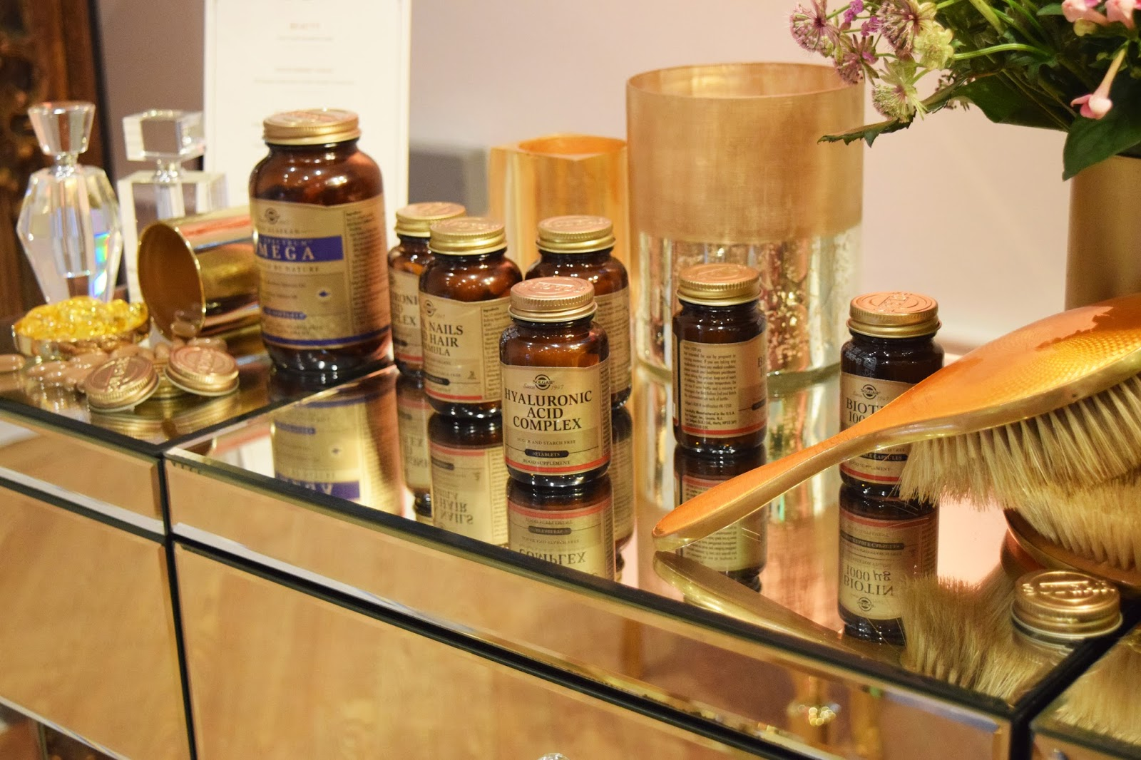 a stand showing a range of supplements