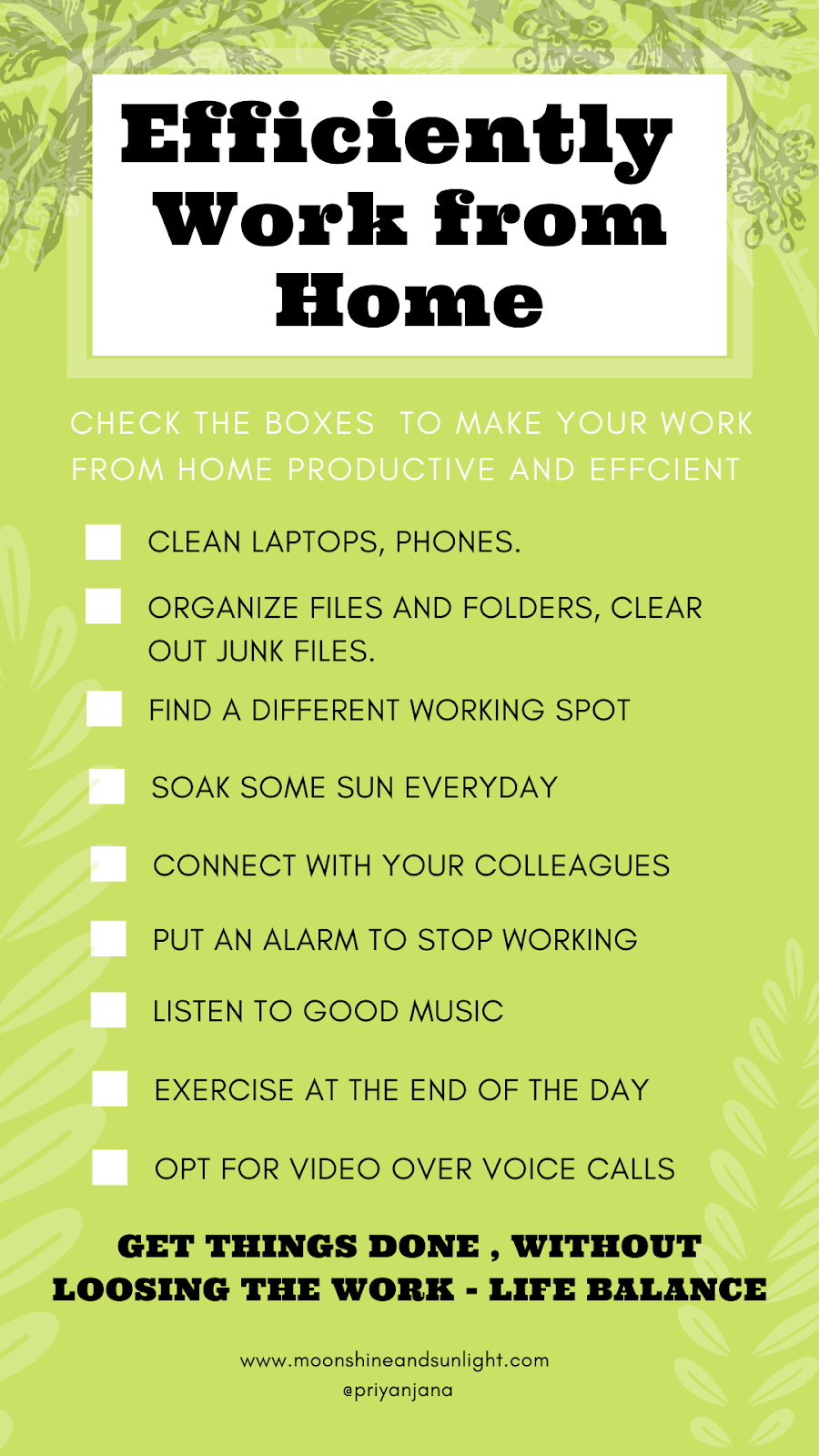 checklist on working from home productively , work from home tips