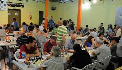 Sala de juego del Torneo Abierto Internacional de Ajedrez de La Pobla de Lillet 2012