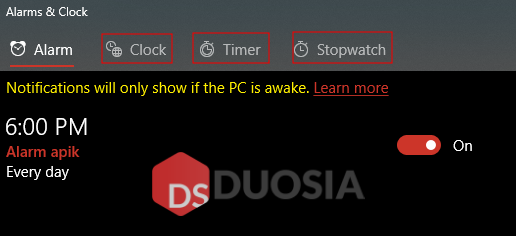 memasang alarm di windows 10