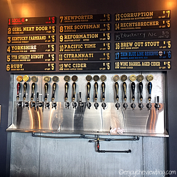 taps with a list of 18 different craft beers